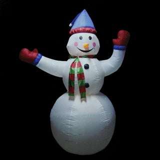 8' Animated Inflatable Lighted Standing Snowman Christmas Yard Art Decoration