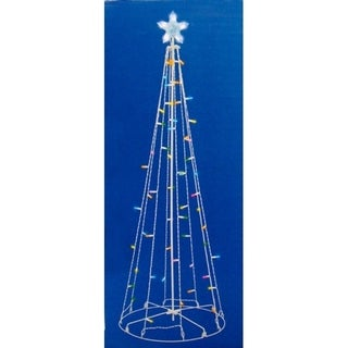 5' Multi-Color LED Lighted Outdoor Show Cone Christmas Tree Yard Art Decoration