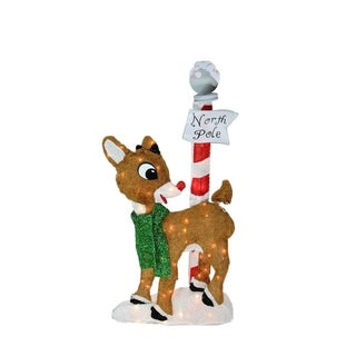 "32"" Pre-Lit 2-D Rudolph the Red-Nosed Reindeer North Pole Christmas Yard Art Decoration"