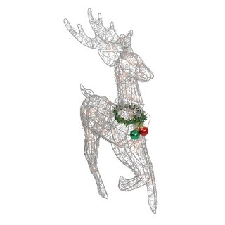 "34"" Pre-lit Silver Glittered Prancing Reindeer Christmas Yard Art Decoration"