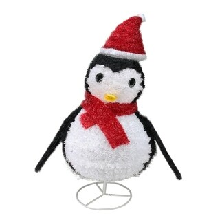 "32"" Pre-Lit Outdoor Chenille Penguin w/ Santa Hat Christmas Yard Art Decoration"