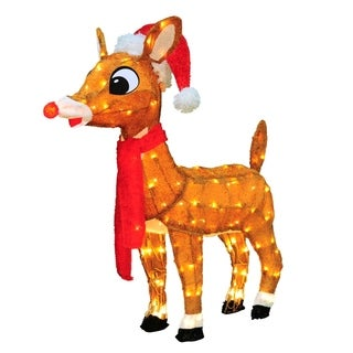 """32"""" Pre-Lit Soft Tinsel Rudolph the Red-Nosed Reindeer Christmas Yard Art Decoration - Clear Lights"""