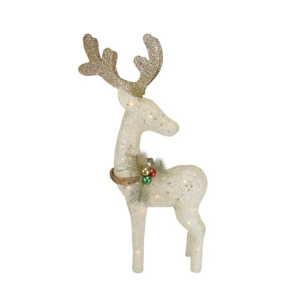 37 lighted sparkling sisal white reindeer christmas yard art decoration