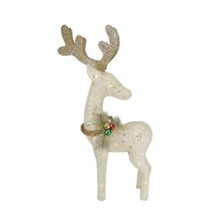 "37"" Lighted Sparkling Sisal White Reindeer Christmas Yard Art Decoration"