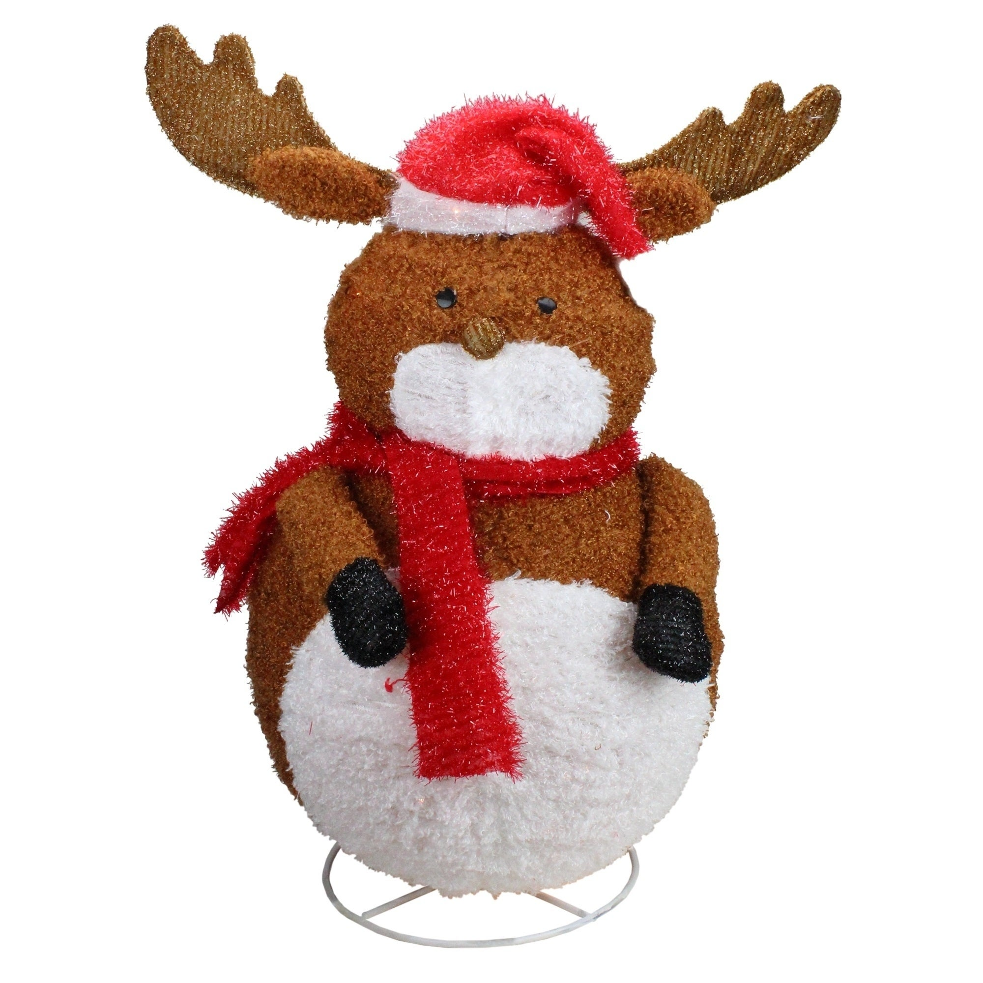 "Penn 24"" Lighted 3-D Chenille Reindeer with Santa Hat Out..."