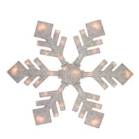 "40"" Lighted Winter White Snowflake Christmas Yard Art Decoration"