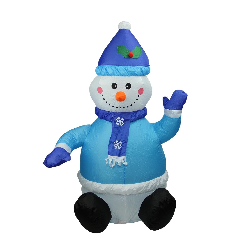 Lb International 4' Inflatable Lighted Blue Snowman Chris...