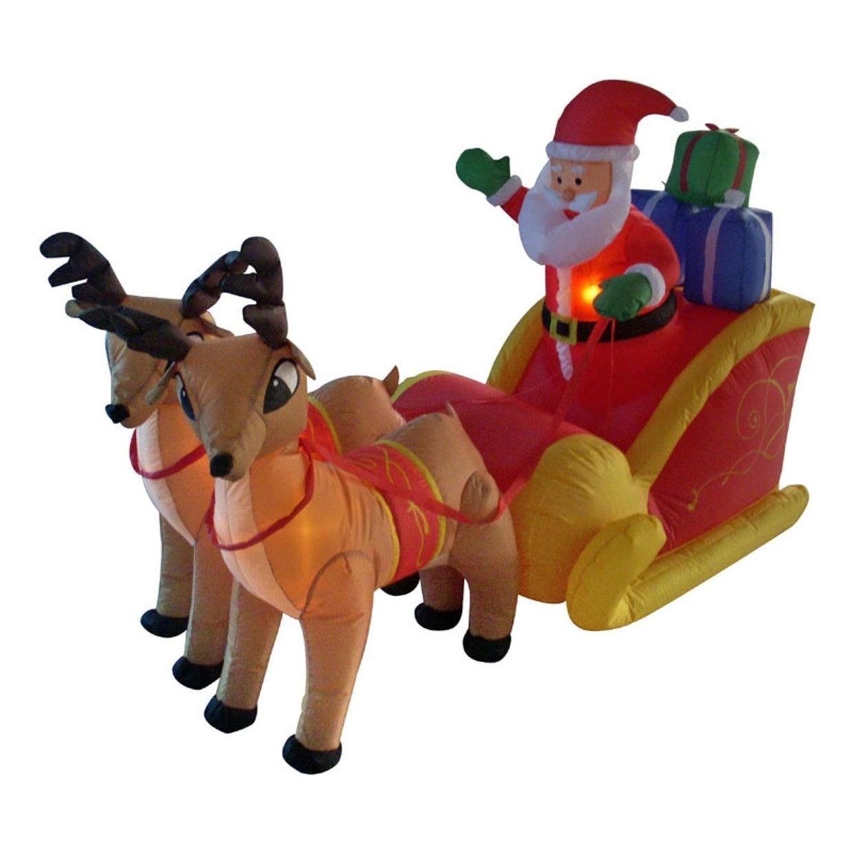 Lb International 4' Inflatable Santa Sleigh & Reindeer Li...