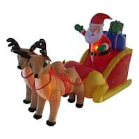 4' Inflatable Santa  Sleigh & Reindeer Lighted Christmas Yard Art Decor