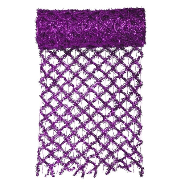 "30' x 12"" Commercial Length Extra Wide Wired Mesh Purple Tinsel Garland Ribbon"