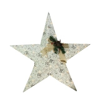 """36"""" Lighted 2.5-D Country Rustic Birch Star Christmas Decoration - Clear Lights"""