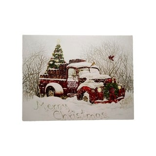 """LED Lighted """"Merry Christmas"""" Pepsi-Cola Delivery Truck Canvas Wall Art 11.75"""" x 15.75"""""""