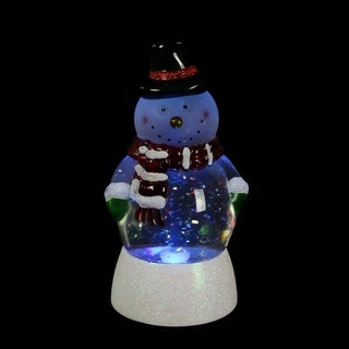 """7.5"""" LED Lighted Color Changing Snowman Christmas Snow Globe Glitterdome"""