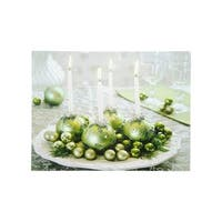 """LED Lighted Sparkling Ornament Centerpiece Christmas Canvas Wall Art 11.75"""" x 15.75"""""""