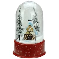"14"" Lighted Musical Snowing Windmill Christmas Table Top Snow Dome"