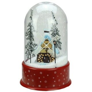 """14"""" Lighted Musical Snowing Windmill Christmas Table Top Snow Dome"""