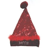 "17"" Sexy Red Sequin ""Hottie"" Santa Hat - Size Medium"