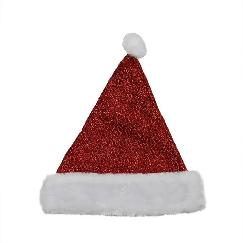 "14"" Sparkling Metallic Red Christmas Santa Hat - Medium"