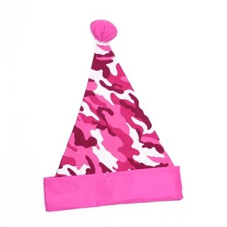 "16"" Pink Camouflage Christmas Santa Hat with Pom-Pom - Adult Size"