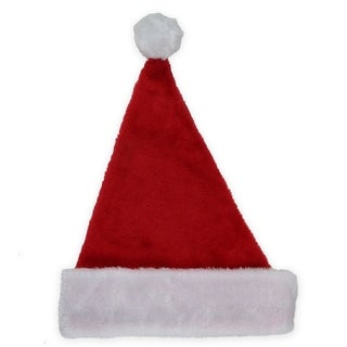"""17"""" Traditional Red and White Plush Christmas Santa Hat - Adult Size Small"""