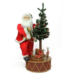 """40"""" Santa with Musical Rotating Drum and Lighted Alpine Tree Decorative Christmas Figure"""