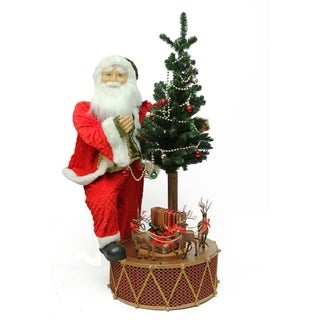 "40"" Santa with Musical Rotating Drum and Lighted Alpine Tree Decorative Christmas Figure"