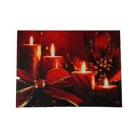 """LED Lighted Red Glitter Striped Candles with Poinsettia & Bow Christmas Canvas Wall Art 12"""" x 15.75"""""""