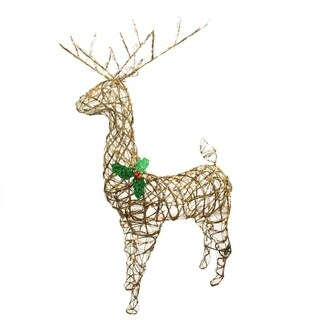 "57"" Standing Grapevine Reindeer Lighted Christmas Yard Art Decoration - Clear Lights"