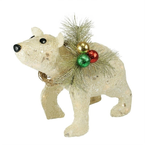 16 Lighted Sparkling Sisal Baby Polar Bear Christmas Yard Art Decoration