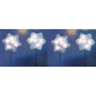 4-Piece Holographic Snowflake Lighted Christmas Pathway Marker Stake Set