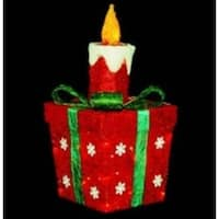 """20"""" Lighted Sparkling Red Sisal Present with Candle Christmas Yard Art Decoration"""