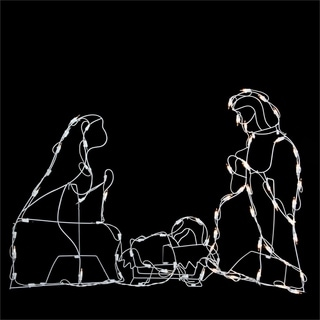 "25.5"" Pre-Lit White Holy Family Nativity Scene Christmas Yard Art Decoration"