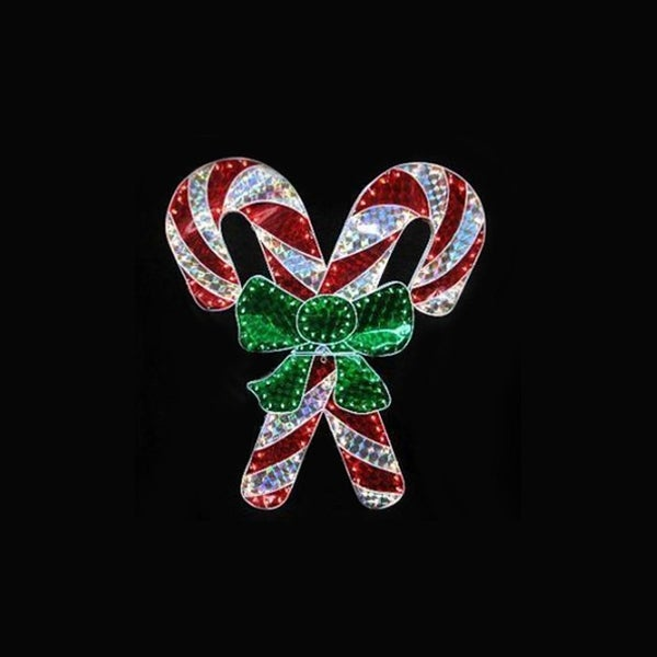 48 holographic lighted double candy cane christmas yard art decoration