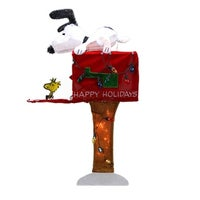 36 pre lit peanuts snoopy with red mailbox animated christmas yard art decoration
