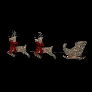 Set of 3 Pre-Lit Glittered Flying Reindeer with Sled Christmas Yard Art Decoration 19""