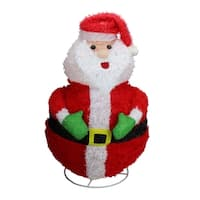 "24"" Lighted 3-D Chenille Jolly Santa Claus Outdoor Christmas Yard Art Decoration"