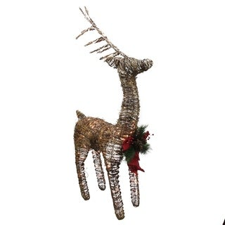 "48"" Lighted Standing Rattan Reindeer with Red Bow and Pine Cones Christmas Yard Art Decoration"