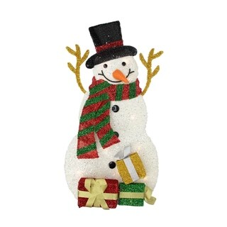 "31.5"" Lighted Plush Tinsel Snowman with Gift Christmas Yard Art Decoration"