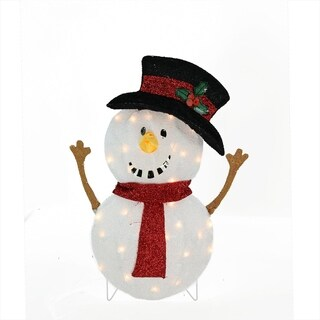 """24"""" Candy Cane Lane Lighted Smiling Snowman Christmas Yard Art Decoration"""