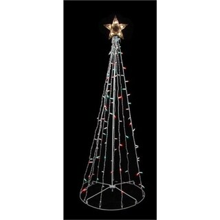 6' Red and Green Lighted Outdoor Twinkling Christmas Tree Yard Art Decoration