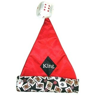 "15"" Casino Gambling ""King"" Of Diamonds Santa Hat - Size Small"