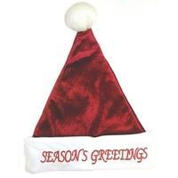 "17"" Red Glitter Plush Santa Hat ""Season's Greetings"" - Size Medium"