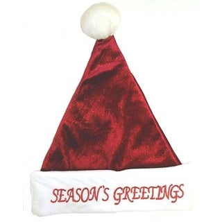"17"" Red Glitter Plush Santa Hat ""Season's Greetings"" - Size Medium"