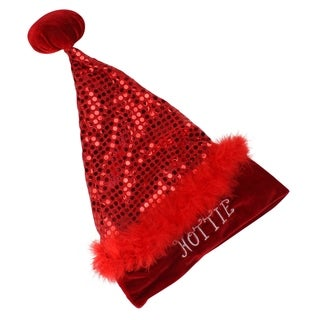 "17"" Sexy Red Sequin ""Hottie"" Santa Hat - Size Small"