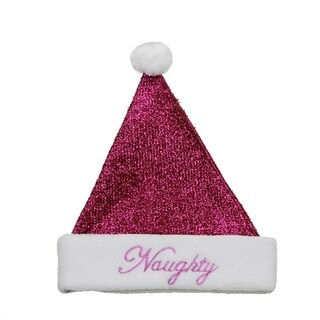 "14"" Sparkling Metallic Pink ""Naughty"" Christmas Santa Hat - Medium"