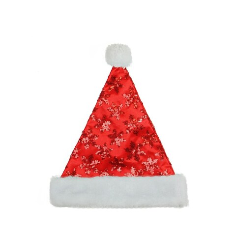 "14"" Red Sequin Snowflake Christmas Santa Hat with White Faux Fur Brim - Medium Adult Size"