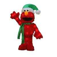 "18"" Pre-Lit 3D Sesame Street Waving Elmo Christmas Yard Art Decoration - Clear Lights"
