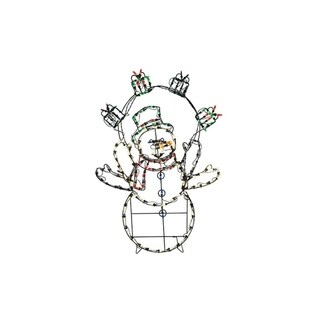 """42"""" Pre-Lit Multi-Color LED Animotion Snowman with Gifts Christmas Yard Art Decoration"""