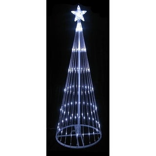 12' Pure White LED Light Show Cone Christmas Tree Lighted Yard Art Decoration