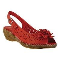 Women's Spring Step Belford Peep Toe Slingback Red Leather